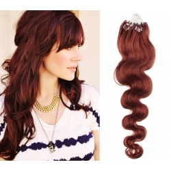 """Wavy micro ring / easy ring human hair REMY 24"""" (60cm) – copper red"""