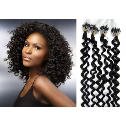 """Curly micro ring / easy ring human hair REMY 20"""" (50cm) – black"""