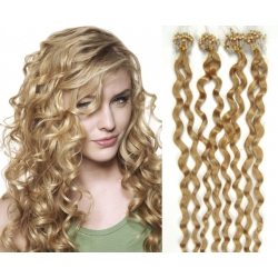 "Curly micro ring / easy ring human hair REMY 20"" (50cm) – natural blonde"