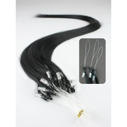 "Micro ring / easy ring human hair REMY 24"" (60cm) – black"