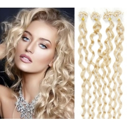 """Curly micro ring / easy ring human hair REMY 20"""" (50cm) – platinum blonde"""
