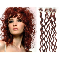 """Curly micro ring / easy ring human hair REMY 20"""" (50cm) – copper red"""