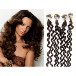 """Curly micro ring / easy ring human hair REMY 24"""" (60cm) – dark brown"""