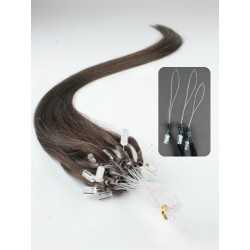 "Micro ring / easy ring human hair REMY 24"" (60cm) – dark brown"