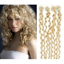Kudrnaté vlasy Micro Ring / Easy Loop / Easy Ring / Micro Loop 60cm – nejsvětlejší blond