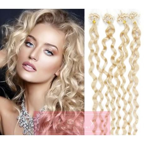 Kudrnaté vlasy Micro Ring / Easy Loop / Easy Ring / Micro Loop 60cm – platina