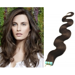 "Wavy 20"" (50cm) Pu Extension / TapeX / Tape Hair / Tape IN human hair – dark brown"