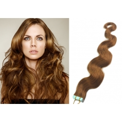 """Wavy 20"""" (50cm) Pu Extension / TapeX / Tape Hair / Tape IN human hair – light brown"""