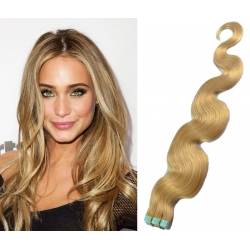 "Wavy 20"" (50cm) Pu Extension / TapeX / Tape Hair / Tape IN human hair – natural blonde"