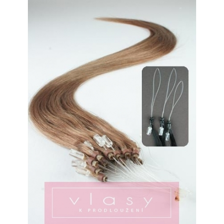 """Micro ring / easy ring human hair REMY 24"""" (60cm) – light brown"""