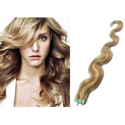Vlnité vlasy pro metodu Pu Extension / Tape Hair / Tape IN 50cm - světlý melír