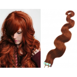 "Wavy 20"" (50cm) Pu Extension / TapeX / Tape Hair / Tape IN human hair – copper red"