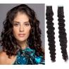 Kudrnaté vlasy pro metodu Pu Extension / Tape Hair / Tape IN 50cm - přírodní černé