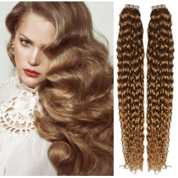 """Curly 20"""" (50cm) Pu Extension / TapeX / Tape Hair / Tape IN human hair – light brown"""
