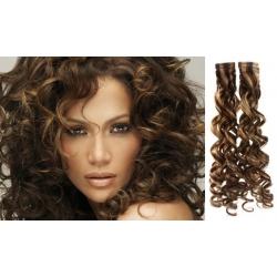"Curly 20"" (50cm) Pu Extension / TapeX / Tape Hair / Tape IN human hair – dark brown / blonde"