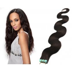 Vlnité vlasy pro metodu Pu Extension / Tape Hair / Tape IN 60cm - přírodní černé