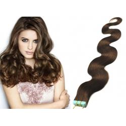 Vlnité vlasy pro metodu Pu Extension / Tape Hair / Tape IN 60cm - středně hnědé