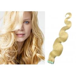 Vlnité vlasy pro metodu Pu Extension / Tape Hair / Tape IN 60cm - nejsvětlejší blond