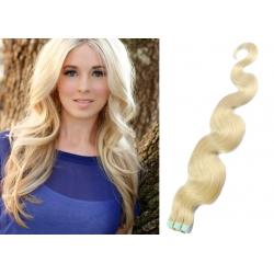 Vlnité vlasy pro metodu Pu Extension / Tape Hair / Tape IN 60cm - platina