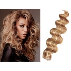 Vlnité vlasy pro metodu Pu Extension / Tape Hair / Tape IN 60cm - přírodní / světlejší blond