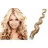 Vlnité vlasy pro metodu Pu Extension / Tape Hair / Tape IN 60cm - platina / světle hnědá