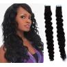Kudrnaté vlasy pro metodu Pu Extension / Tape Hair / Tape IN 60cm - černé