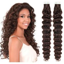 Kudrnaté vlasy pro metodu Pu Extension / Tape Hair / Tape IN 60cm - tmavě hnědé