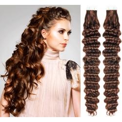 Kudrnaté vlasy pro metodu Pu Extension / Tape Hair / Tape IN 60cm - středně hnědé