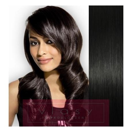 "Clip in hair 16"" (43cm) 100% human hair remy – EXTRA VOLUME 100g – black"