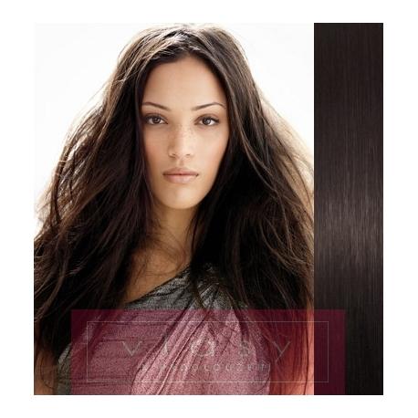 Clip in vlasy 43cm 100% lidské - EXTRA HUSTÉ 100g - přírodní černá