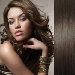 Clip in vlasy 43cm 100% lidské - EXTRA HUSTÉ 100g - tmavě hnědá