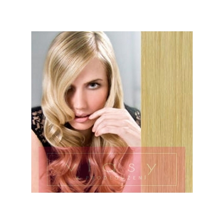 Clip in vlasy 43cm 100% lidské - EXTRA HUSTÉ 100g - přírodní blond
