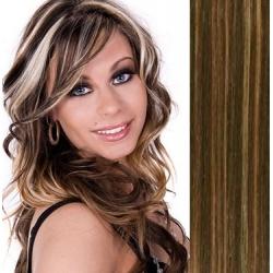 Clip in vlasy 43cm 100% lidské - EXTRA HUSTÉ 100g - tmavý melír