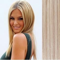 Clip in vlasy 43cm 100% lidské - EXTRA HUSTÉ 100g - platina/světle hnědá