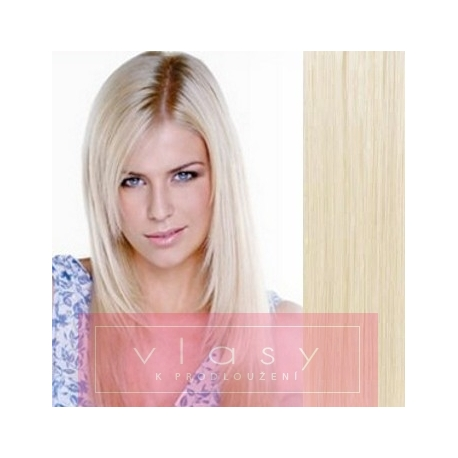 """Clip in hair extensions 20"""" (53cm) 100% human hair – REMY 100g – platinum blonde"""