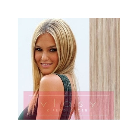 """Clip in hair extensions 20"""" (53cm) 100% human hair – REMY 100g – platinum/light brown"""