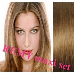 """Clip in maxi set 16"""" (43cm) human hair - REMY 140g – light brown"""