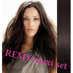"Clip in maxi set 20"" (53cm) human hair - REMY 200g – natural black"