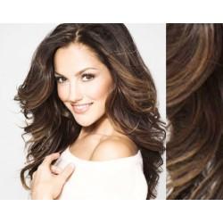 "Wavy clip in hair extensions 20"" (53cm) 100% human hair – REMY 100g – medium brown"