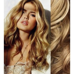 """Wavy clip in hair extensions 20"""" (53cm) 100% human hair – REMY 100g – natural blonde"""