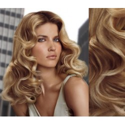 """Curly clip in hair extensions 20"""" (53cm) 100% human hair – REMY 100g – light blonde / natural blonde"""