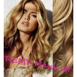 """Wavy clip in maxi set 20"""" (53cm) human hair - REMY 200g – natural blonde"""