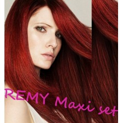 """Clip in maxi set 16"""" (43cm) human hair - REMY 140g – copper red"""