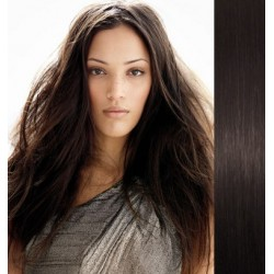 """Clip in hair extensions 20"""" (53cm) 100% human hair – REMY 100g – natural black"""