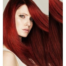 """Clip in hair extensions 20"""" (53cm) 100% human hair – REMY 100g – copper red"""