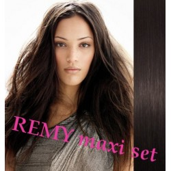 "Clip in maxi set 24"" (63cm) human hair - REMY 240g – natural black"