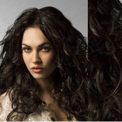 """Wavy clip in hair extensions 20"""" (53cm) 100% human hair – REMY 100g – natural black"""