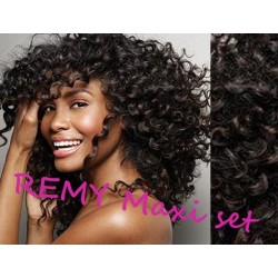 "Curly clip in maxi set 20"" (53cm) human hair - REMY 200g – natural black"