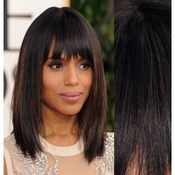 Clip in bang / fringe – REMY 100% human hair – natural black