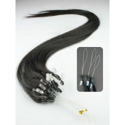"Micro ring / easy ring human hair REMY 16"" (40cm) – natural black"
